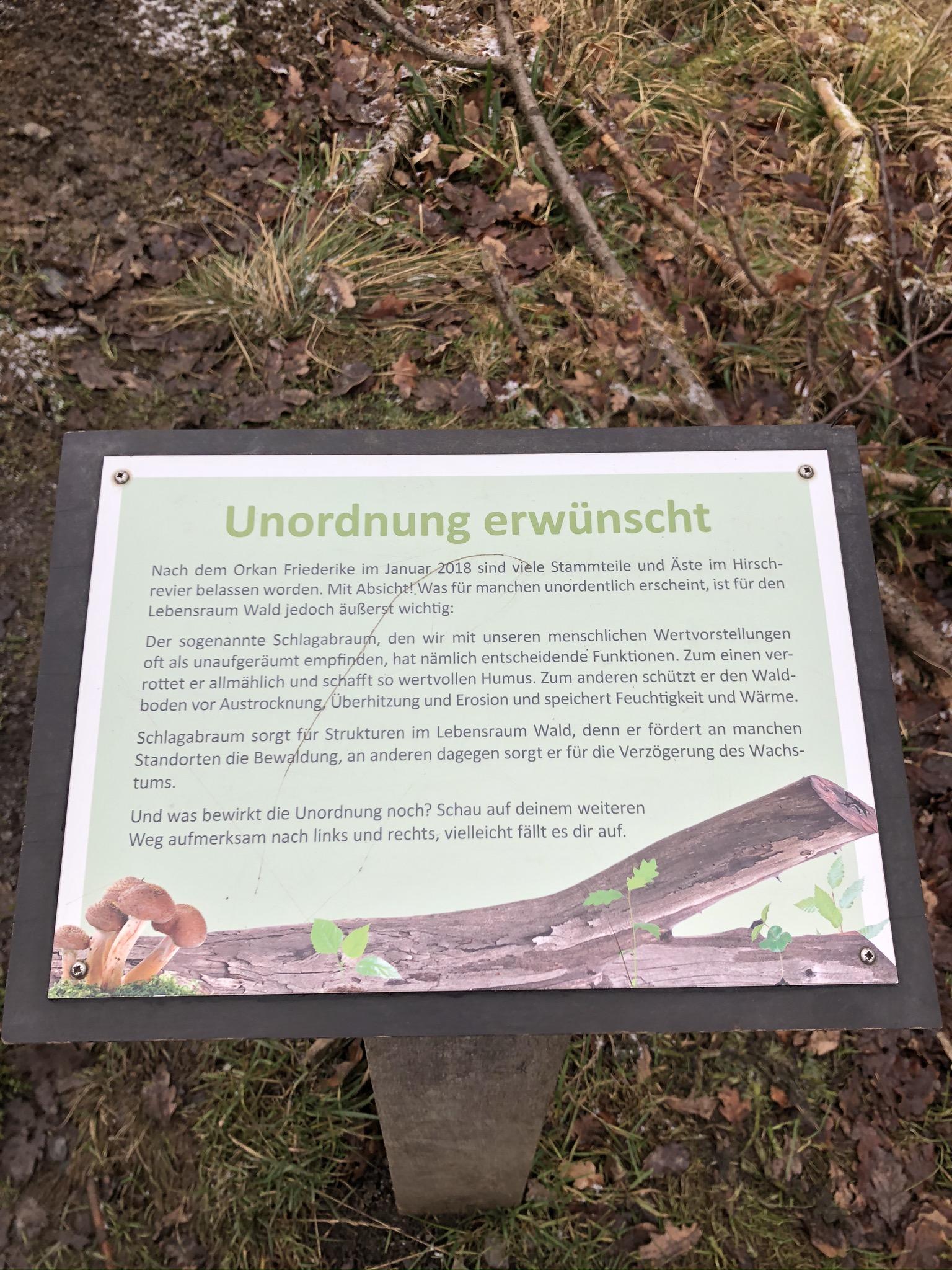 Hinweisschild im Wildwald Vosswinkel in Arnsberg
