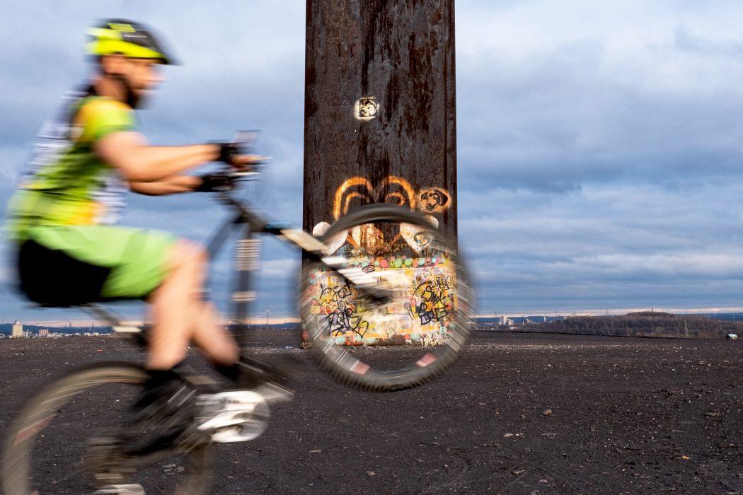 Das Foto zeigt einen Mountainbiker auf der Schurenbachhalde in Essen, wo 2021 der Brammen.Trail eröffnet wird
