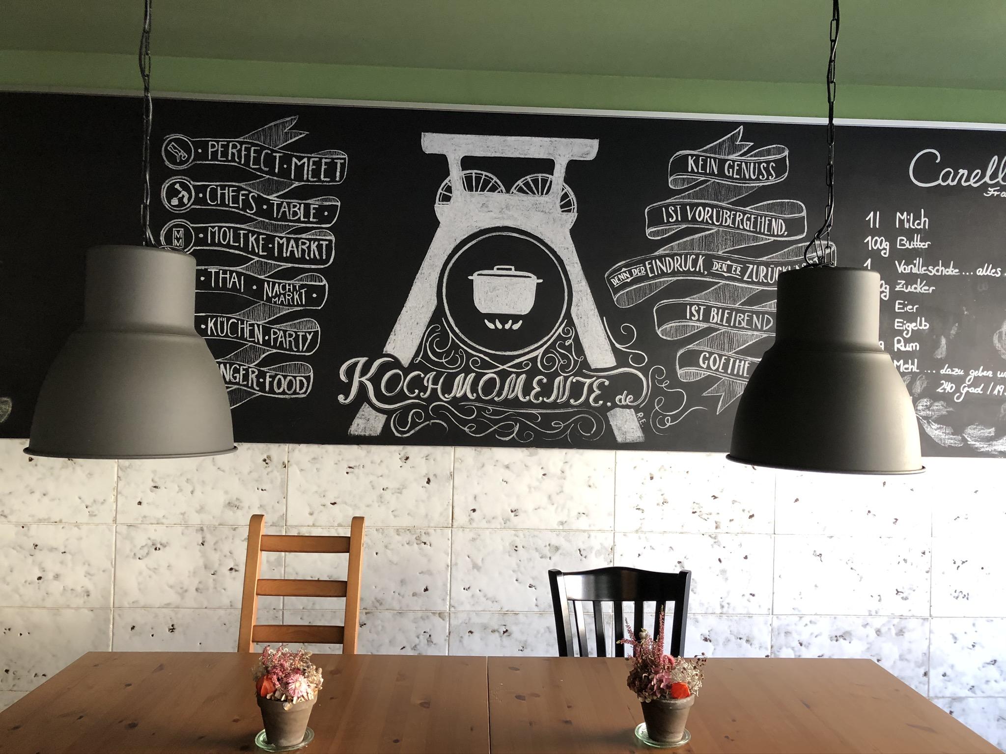 Kreidetafel in der Kochmomente Kochschule in Bochum