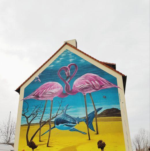 Das Foto zeigt ein Flamingo Graffiti in Bochum
