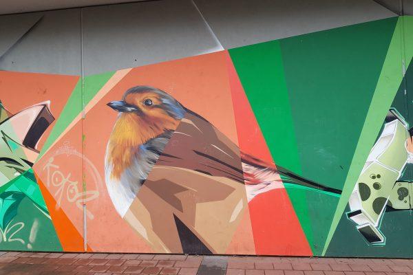 Das Foto zeigt ein Rotkehlchen Graffiti in Bochum