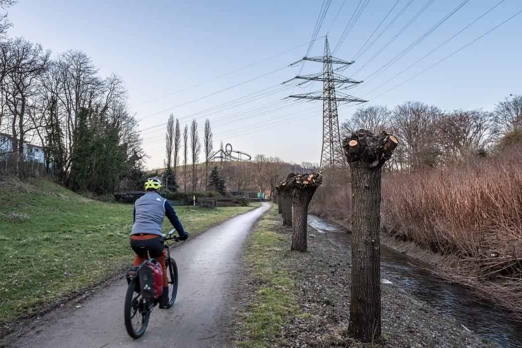 Das Foto zeigt einen Radfahrer kurz vor der Heinrich-Hildebrand-Höhe mit der Skulptur Tiger & Turtle in Duisburg