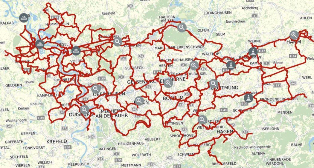 Das Foto zeigt eine Karte des Knotenpunktsystems in Wesel