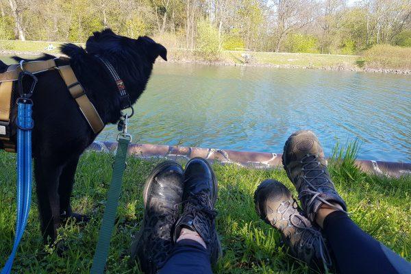 Das Foto zeigt zwei Paar Schuhe und einen Hund am Kanal in Dortmund