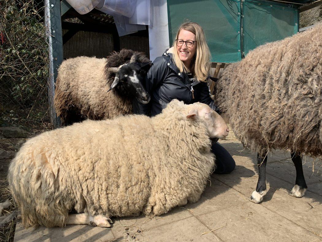 Das Foto zeigt Nina beim Schafe kuscheln auf dem Begegnungshof in der Espe mitten in der Elfringhauser Schweiz