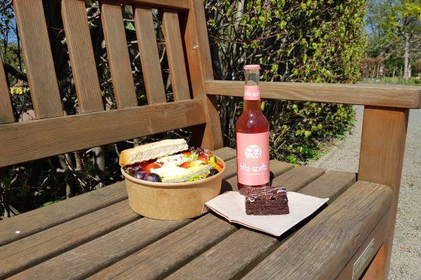 Das Foto zeigt einen Salat und Kuchen als Picknick im Grugapark Essen