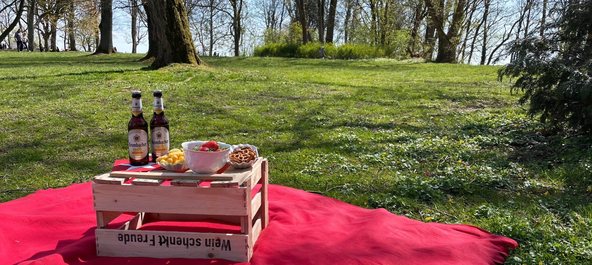Das Foto zeigt ein Picknick im Ruhrgebiet an der Hohensyburg in Dortmund