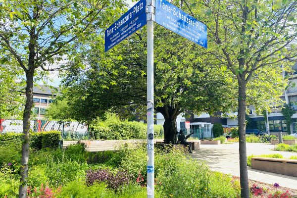 Das Foto zeigt den Tana-Schanzara-Platz im Szeneviertel Bochum Ehrenfeld