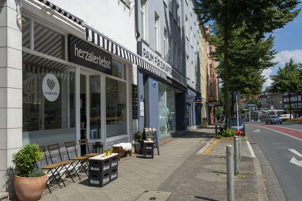 Das Foto zeigt das Café herzallerliebst in Dortmund von außen