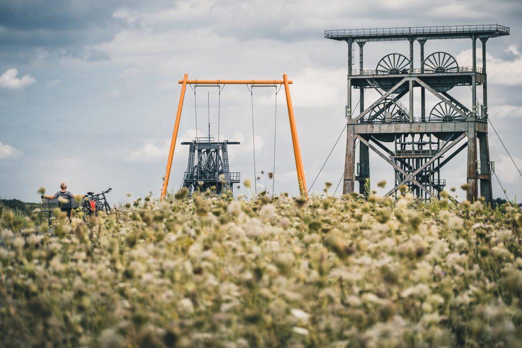 Das Foto zeigt Jochen bei seiner Radtour durch Dortmund an der Zeche Gneisenau
