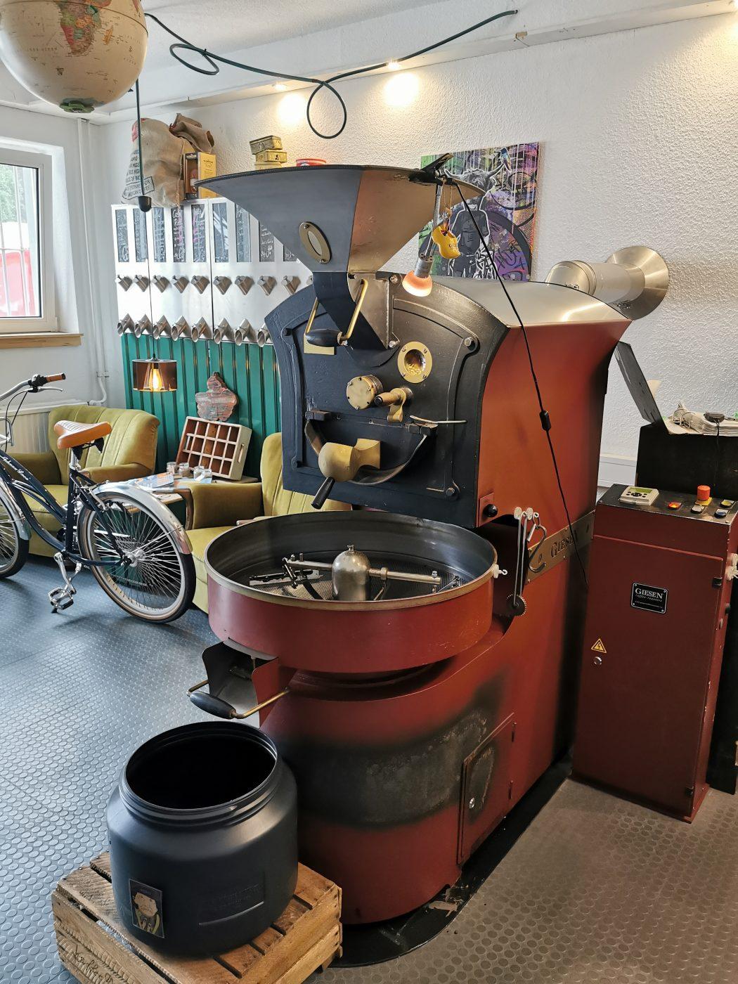 Das Foto zeigt den Trommelröster der Kaffeerösterei ODIBA in Gelsenkirchen