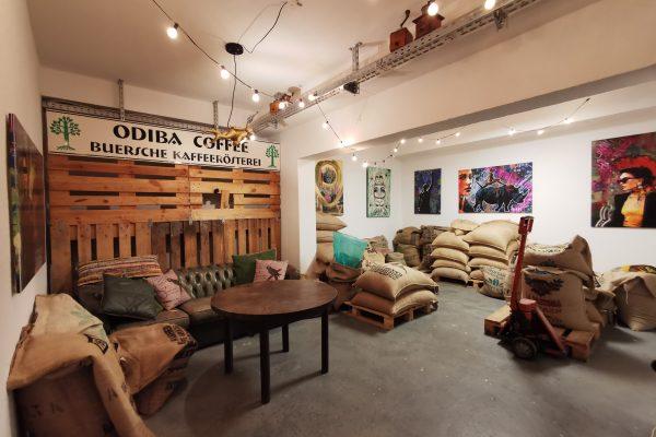 Das Foto zeigt das Lager der Kaffeerösterei ODIBA in Gelsenkirchen
