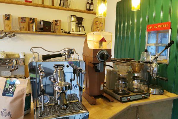 Das Foto zeigt alte Kaffemaschinen in der Kaffeerösterei ODIBA in Gelsenkirchen