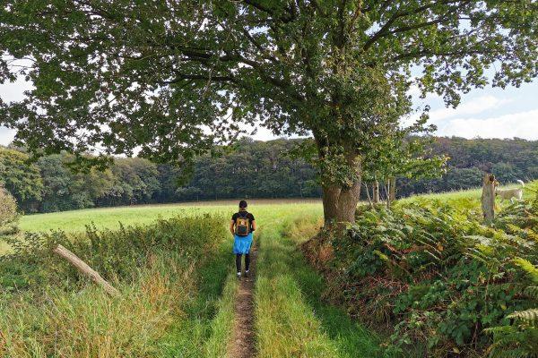 Das Foto zeigt Heike auf einem Feldwanderweg in Sprockhövel bei der Mädelswanderung von Hattingen nach Sprockhövel