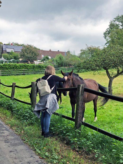Das Foto zeigt Katalina mit Pferden auf dem Ruhrhöhenweg in Hattingen