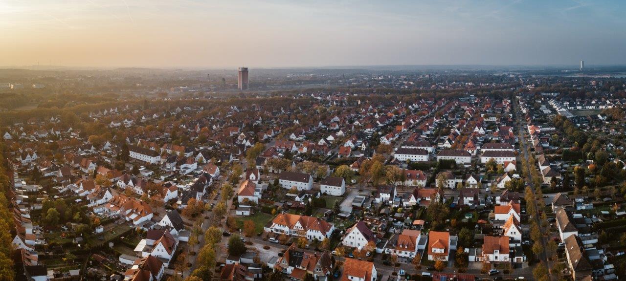 Das Bild zeigt die Alt-Siedlung Friedrich Heinrich von oben
