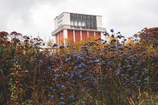 Das Bild zeigt den Blick auf den Zechenturm Friedrich-Heinrich
